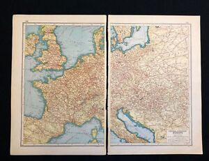Details about Vintage Map 1920 CENTRAL & WESTERN EUROPE - RAILWAYS -  Harmsworth\'s Atlas