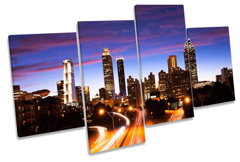 Atlanta Cityscape Skyline MULTI CANVAS WALL ART Print Picture