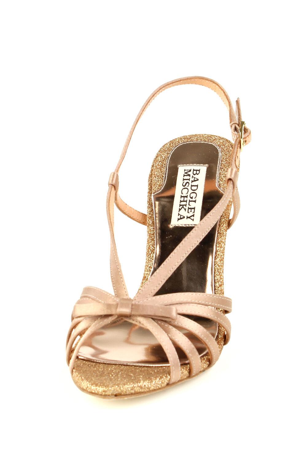 Badgley Mischka WRIGHT Sandals Heels Natural Satin Brand New New New in Box Retail  175 1b1f54