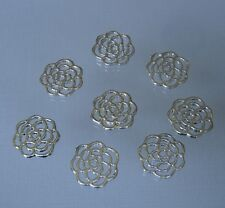 10 Platinum Color Round Flower Double Sided Charm Pendant Connector  15mm.