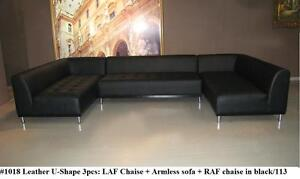 Image Is Loading Modern Design Black Leather Sectional U Shape Chaise