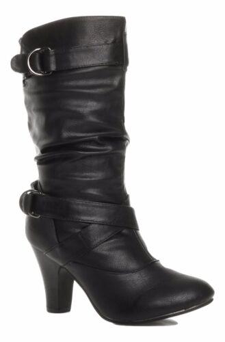 Truffle Sh12-25 Ladies Boots Mid Calf Black Cuban Heel Buckles