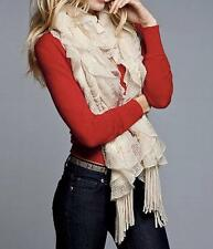NEW Victoria's Secret Winter White/Ivory Knit Scalloped Fringed Scarf - One Size
