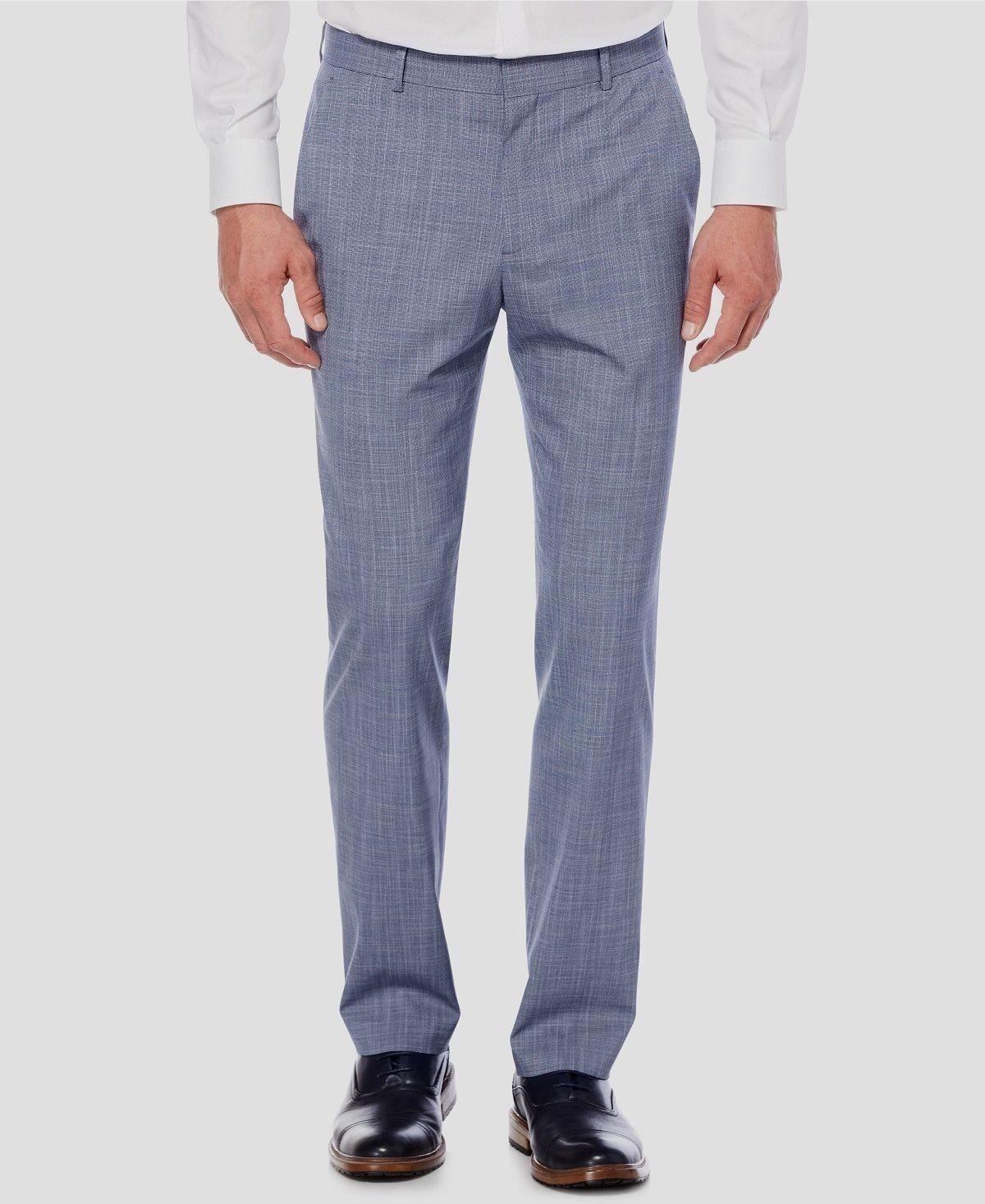 PERRY ELLIS PORTFOLIO MEN blueE FLAT FRONT SLIM FIT DRESS PANTS 32 W 32 L