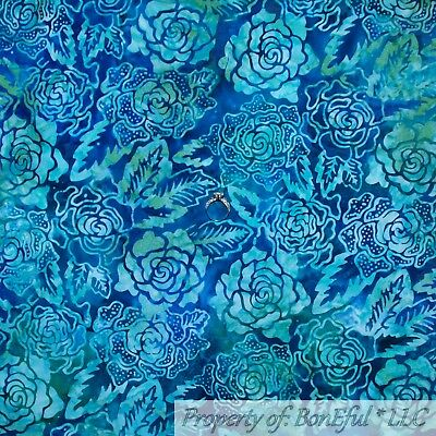 Teal Aqua Blue Metallic Gold Fabric Freedom BIRD FLORAL Green Cotton BY 1//2 YD