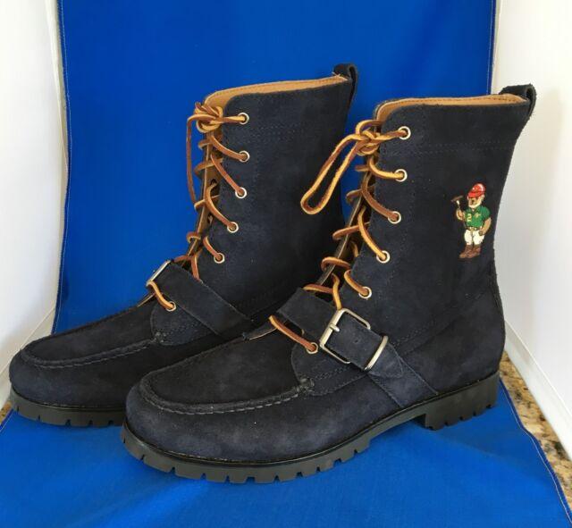 Polo Ralph Lauren Mens Ranger B II Polo Bear Navy Suede Boots Size 10 12 D $285