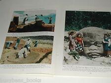 1943 magazine article, La Venta MEXICO, excavations, Olmec, with color photos