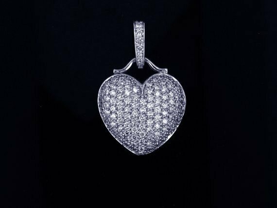 2Ct Round Cut Diamond Pave Set. Heart Pendant With Chain 14K White gold Finish