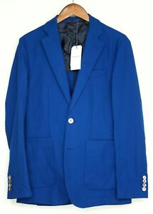 Hardy-Amies-Mens-Sport-Coat-38R-Royal-Blue-Hopsack-Cotton-Wool-Patch-Pocket-MOP