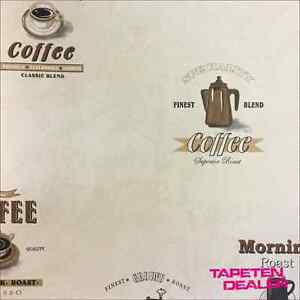 Details Zu Kaffee Tapete Vliestapete Kuche Cafe Retro G12241 Kitchen Recipes 4 69 Qm
