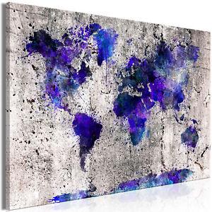 Leinwand bilder weltkarte beton grau stein wandbilder xxl for Kunstdruck wohnzimmer