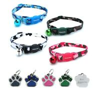 ANCOL Cat Collar Camouflage, Quick Release With Free Engraved Paw ID Tag & P&P