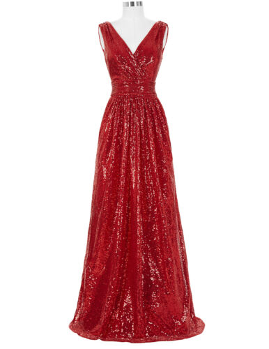 Ladies Deep-V Long Evening Party Dress Wedding Formal Prom Bridesmaid Ball Gown