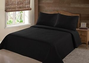 MIDWEST-BLACK-NENA-SOLID-QUILT-BEDDING-BEDSPREAD-COVERLET-PILLOW-CASES-SET