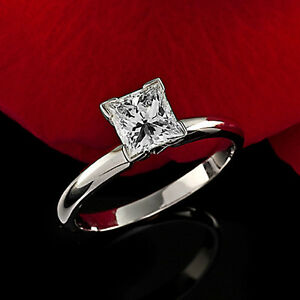 .88 CT PRINCESS CUT DIAMOND SOLITAIRE ENGAGEMENT RING 14K WHITE GOLD ENHANCED