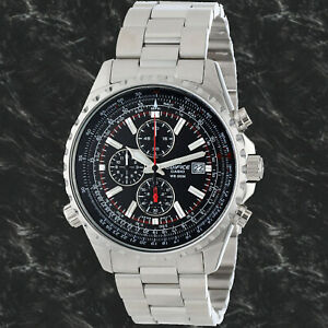 Casio-EF527D-1A-Edifice-Men-039-s-Chronograph-Watch-Black-Dial-100M-Stainless-Steel
