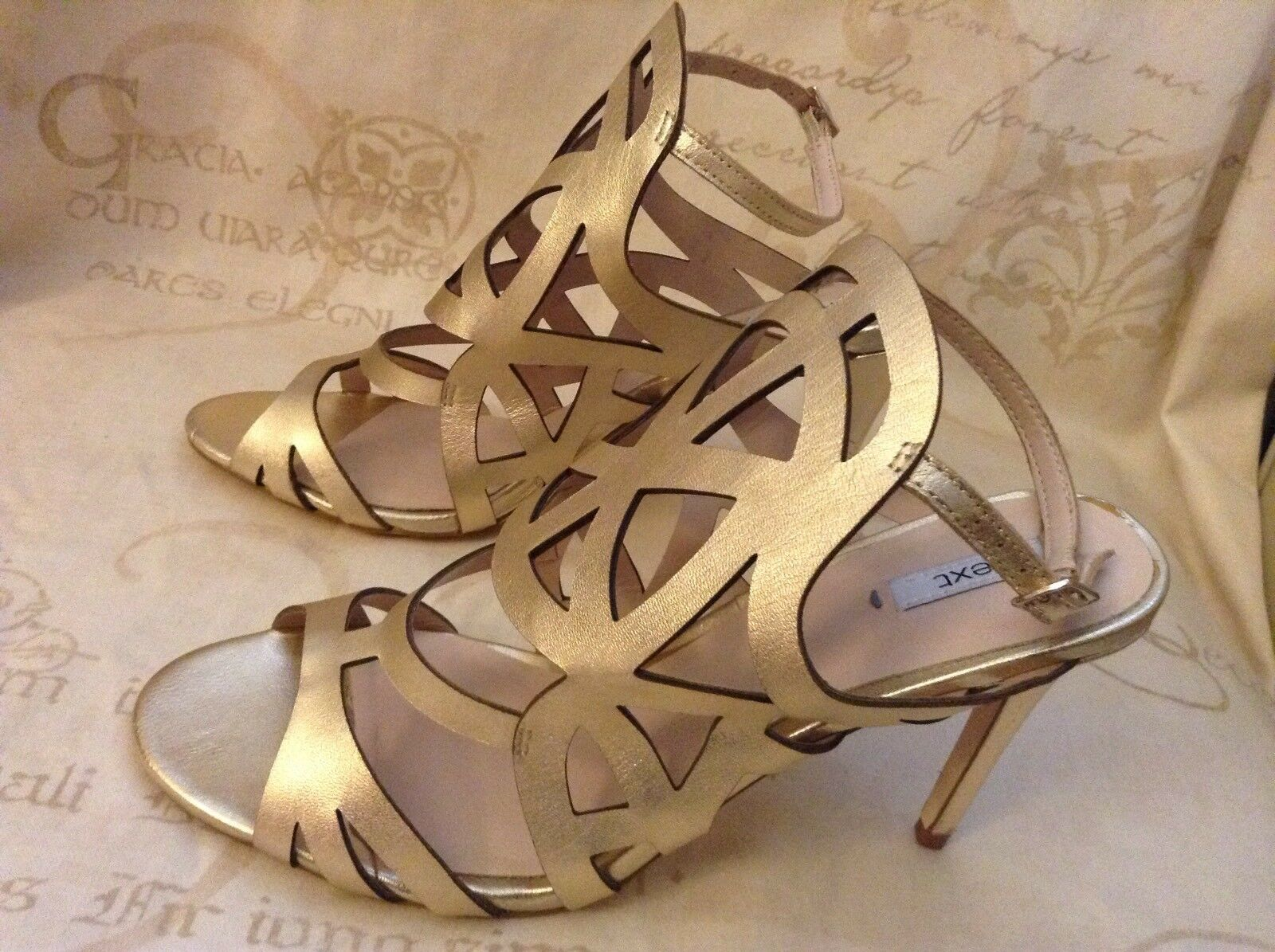 NewNextSize 6.5 gold Caged Heeled Leather Sandals shoes Party (40EU