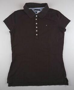 Tommy Hilfiger Damen Poloshirt Slim Fit Gr.M braun uni -S705