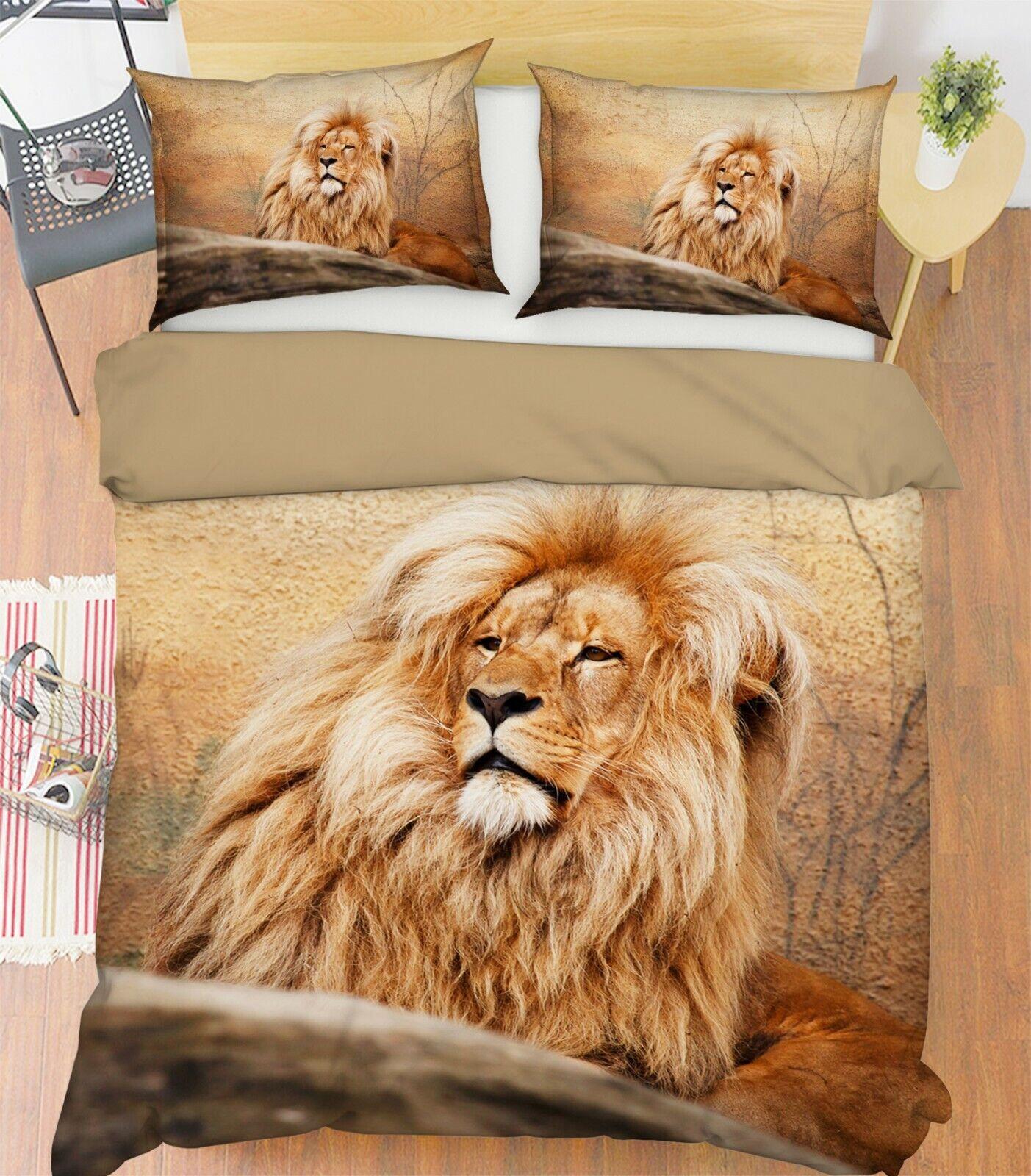 3D Africa Lion P60 Animal Bed Pillowcases Quilt Duvet Cover Set Queen King Zoe