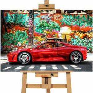 Ferrari Car Graffiti Background Canvas Print Wall Art