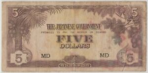 Mazuma *M1284 Malaya Japanese WWII JIM 1942 $5 MD AVF