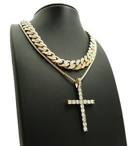 Bien éDuqué Hip Hop Iced Out Cuban Choker Chain & Iced Cross Pendant W/ Box Chain Necklace