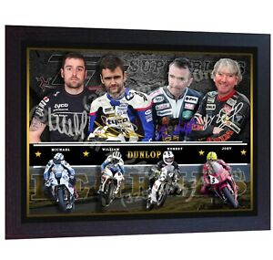 Joey-Dunlop-Robert-Dunlop-William-Dunlop-Michael-Dunlop-CANVAS-signed-FRAMED