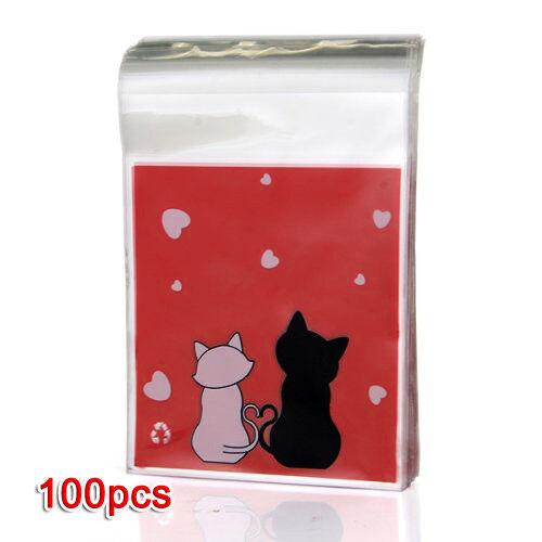 100 Stueck Handtasche Rote Katze Beutel fuer Suessigkeit Keks Geschenk
