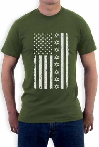 Big Distressed Star of David U.S Flag American Jew T-Shirt Jewish