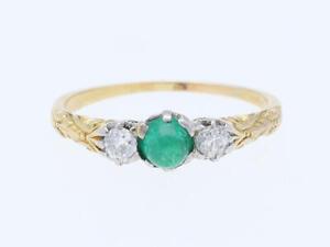 antiker-Ring-Diamanten-Smaragd-750-Gold-18-Karat-um-1900