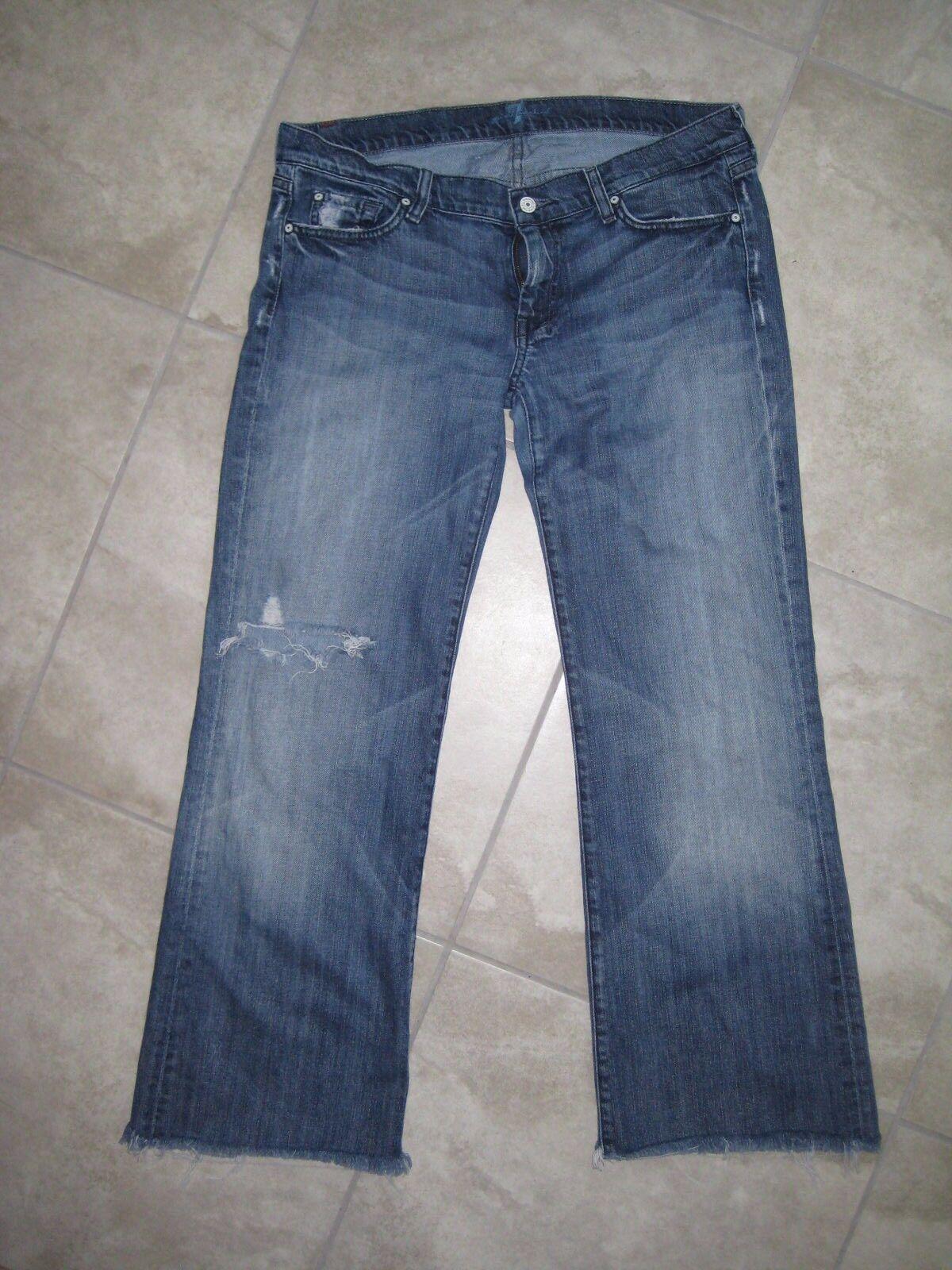 Grunge 7 for All Mankind Flare Wide Leg Dojo Denim Jeans Women's Pants 32 USED