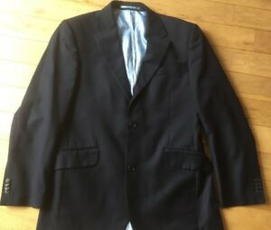 Men-039-s-Dark-Blue-40-Inch-Lined-Jacket-By-Daniel-Hechter-Wool-Blend