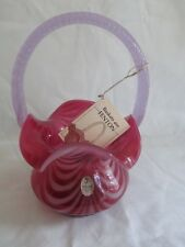 "Fenton Glass 8"" Drapery Basket in Fuchsia Opalescent"