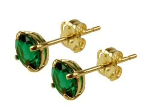 9ct Yellow Gold 5mm Round Emerald Stud Earrings complete with backs