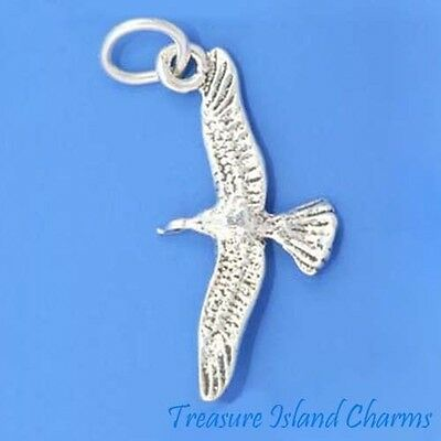 Detailed Seagull Bird 3D .925 Sterling Silver Charm Pendant MADE IN USA