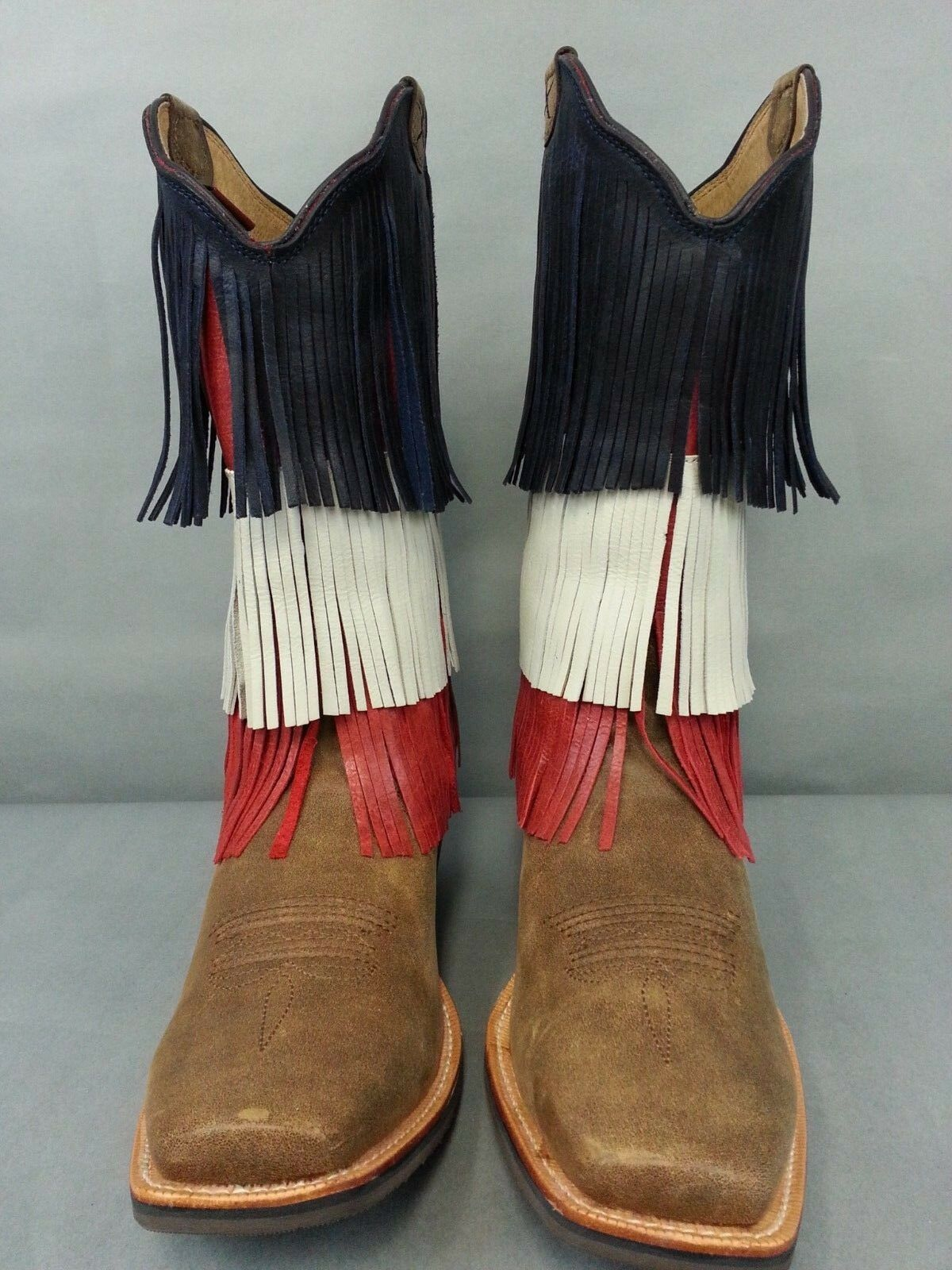 NWOB Twisted X Ruff Stock VFW Fringe Fringe VFW Cowgirl Boots Square Toe Red White Blue 11 d5d83a
