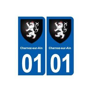 01 Charnoz-sur-ain Blason Ville Autocollant Plaque Sticker - Angles : Arrondis Lustre Brillant