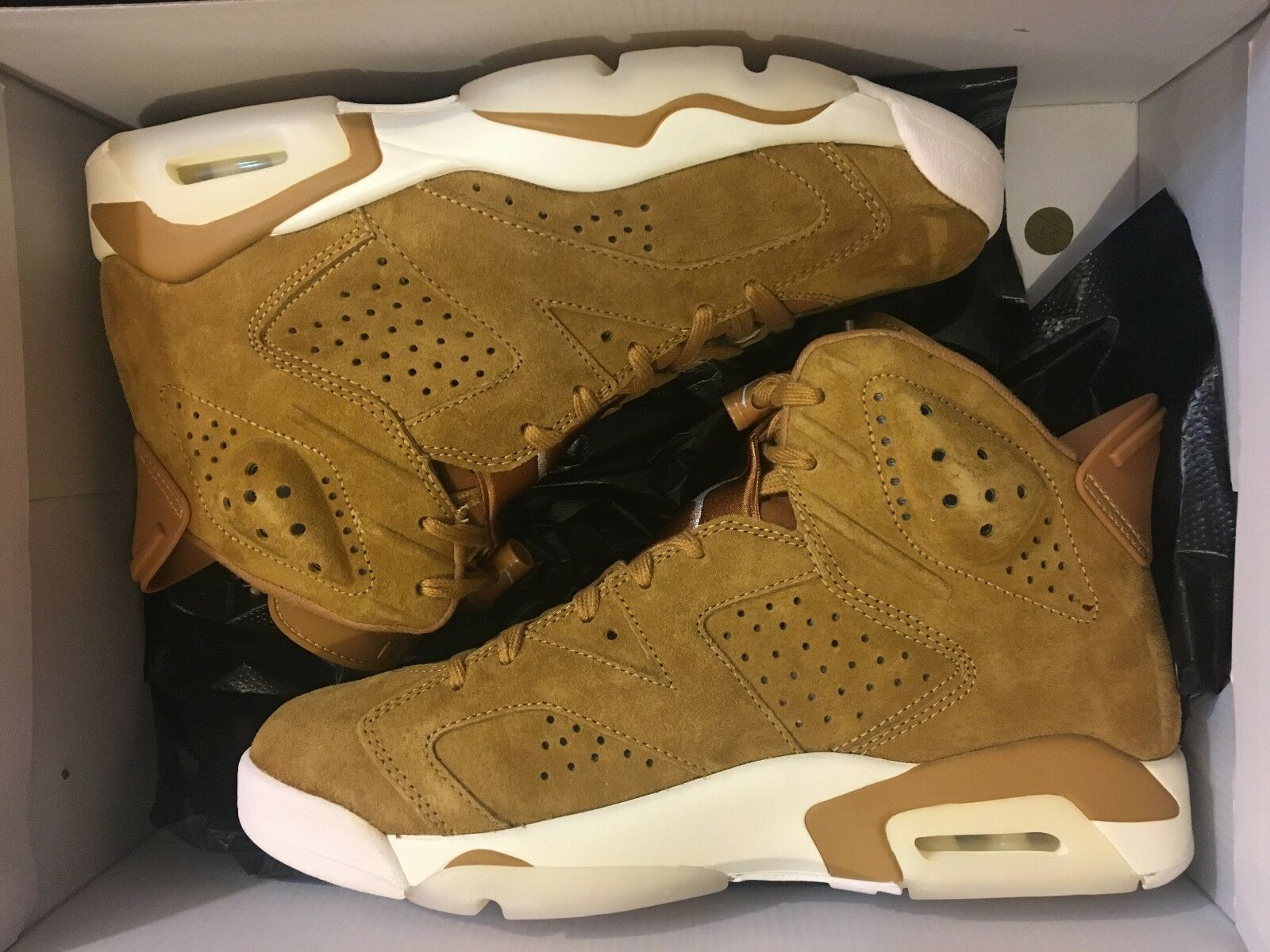 NEW NIKE AIR JORDAN 6 RETRO GOLDEN HARVEST WHEAT SHOE 384664-705 MEN SIZE 8.5