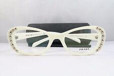 Clearance Prada VPR 21R 7S3-1O1 White w/ Silver Studs New Eyeglasses 51mm w/Case