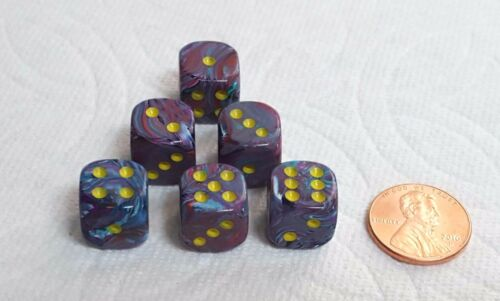 12mm Chx ~Festive Mosaic w//Yellow Pips~ 6 Each Dice Small Size Multicolored