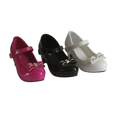 GIRLS KIDS CHILDRENS HEELS BOW PARTY FANCY WEDDING BRIDESMAID SANDALS SHOES SIZE