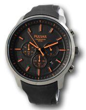 Pulsar Watch Mens Chronograph Black Polyurethane Strap 47mm PT3207