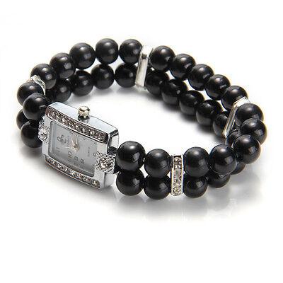 Metal Rhinestone Black Pearl Bead Bracelet Stretch Elastic Wrist Watch Fashion