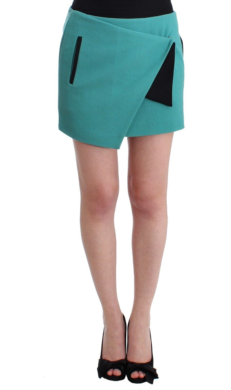 NEW  200 C'N'C COSTUME NATIONAL Skirt bluee Wrap Mini Short Wool Blend IT40 US4