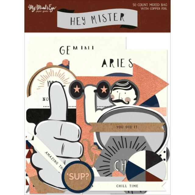 My Mind's Eye - HEY MISTER - Mixed Bag Die-cuts with copper foil - 50 pieces