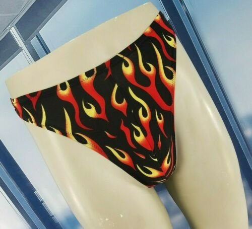 Spandex Thong Swimsuit Flame Printed Spandex Sz Me