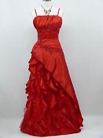 Cherlone Clearance Plus Size Satin Red Wedding/Evening Bridesmaid Dress UK 18-20