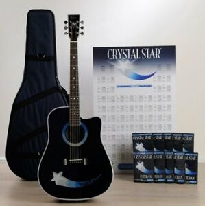 new esteban crystal star acoustic electric guitar package with accessories ebay. Black Bedroom Furniture Sets. Home Design Ideas