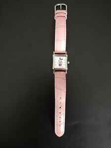 Minnie-mouse-womens-pink-watch-with-leather-band
