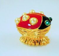 Kjl Kenneth Jay Lane Critter Collection Ladybug Lane Trinket Box / Pin Cert